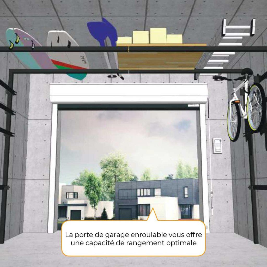 Vue intérieure 3D porte de garage enroulable