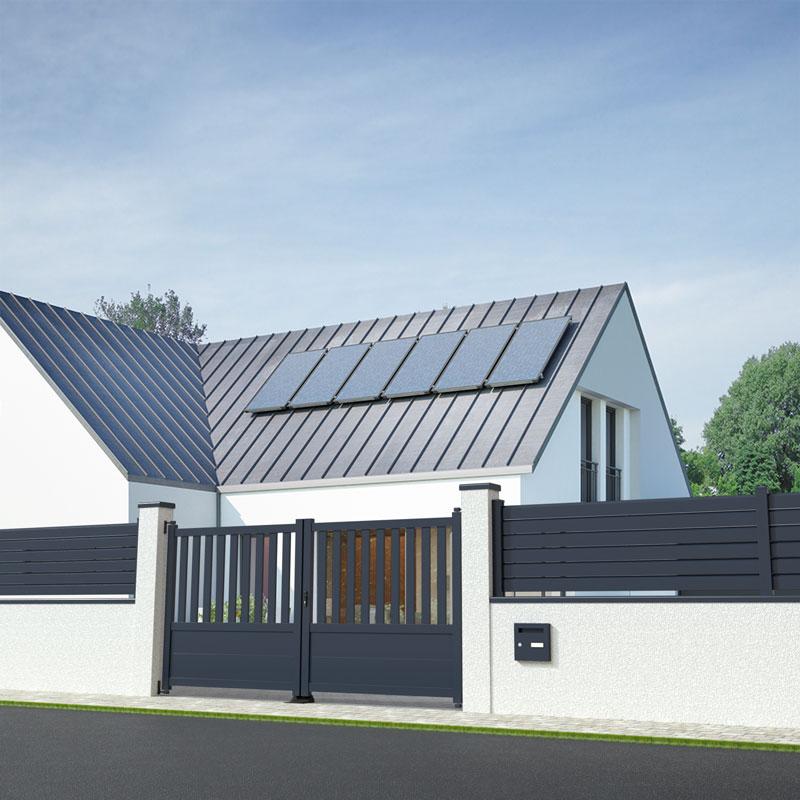 portail battant gris anthracite dans une maison moderne