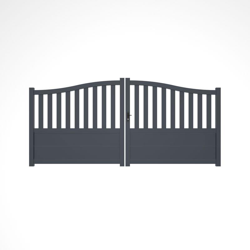 portail battant style gendarme gris anthracite dans une maison moderne