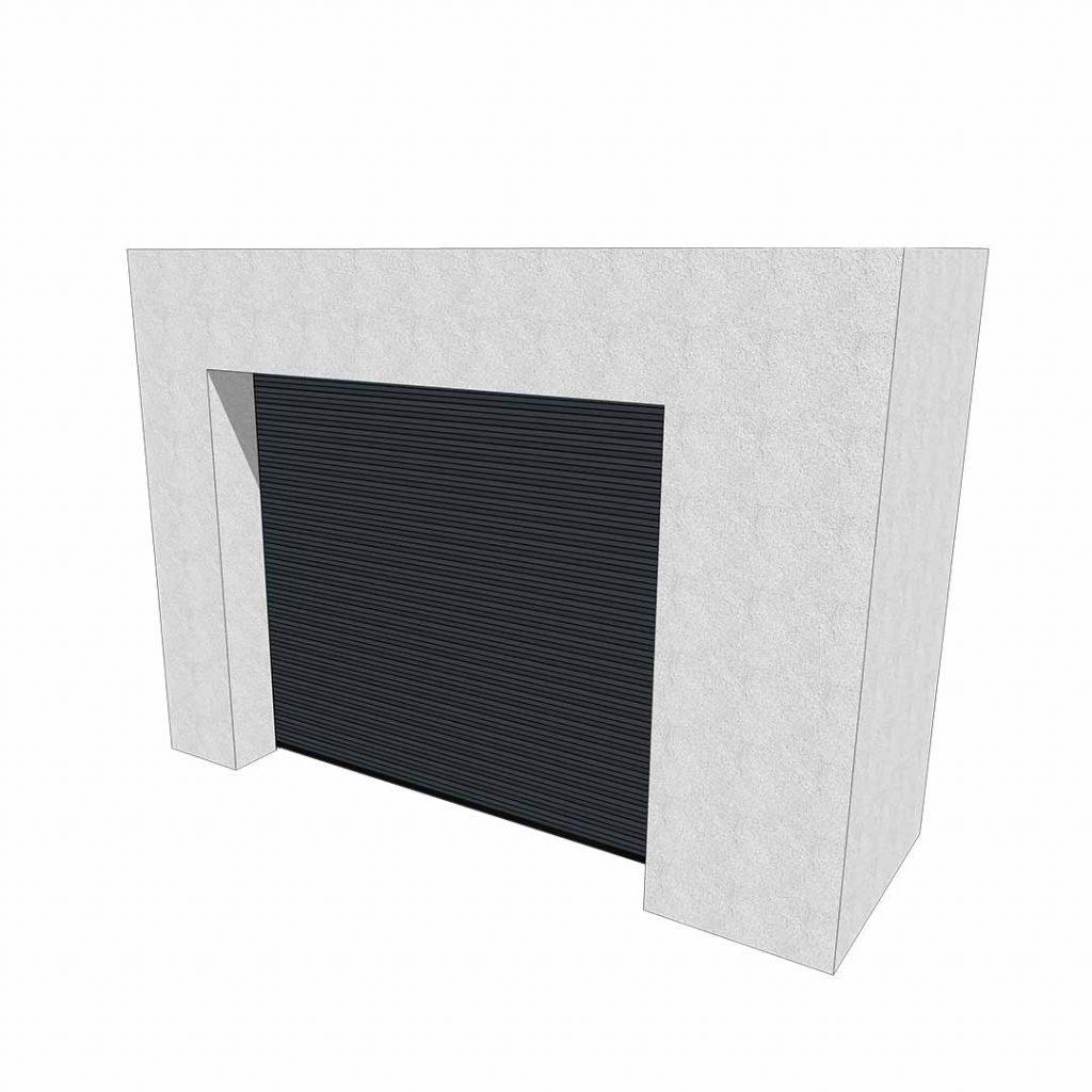 Vue 3D extérieure d'une porte de garage enroulable