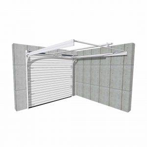 vue 3D porte de garage sectionnelle refoulement plafond